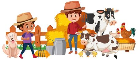Two farmers and farm animals on white background illustration