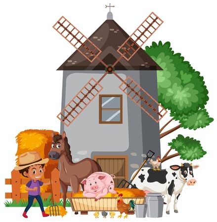 Scene with farmboy and many animals illustration