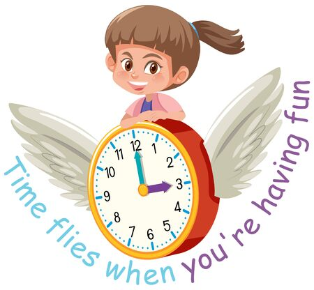 English idiom with picture description for time flies when you are having fun on white background illustration