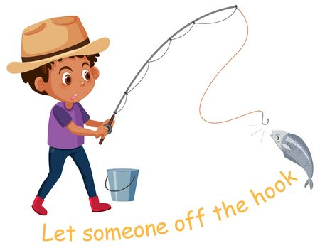 English idiom with picture description for let someone off the hook on white background illustration