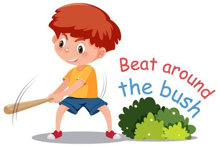 English idiom with picture description for beat around the bush on white background illustration Illusztráció