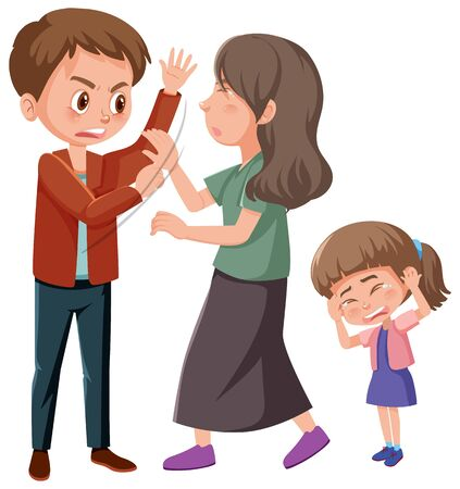 Domestic violence scene with parents fighting in front of little girl illustration