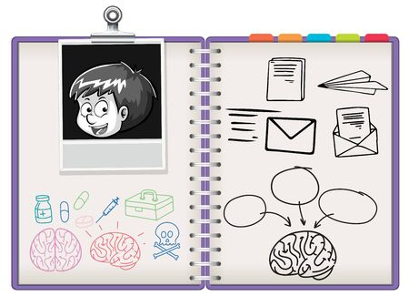 Open notebook with note illustration