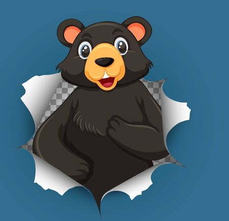Cute grizzly bear coming out of cracked wall illustration