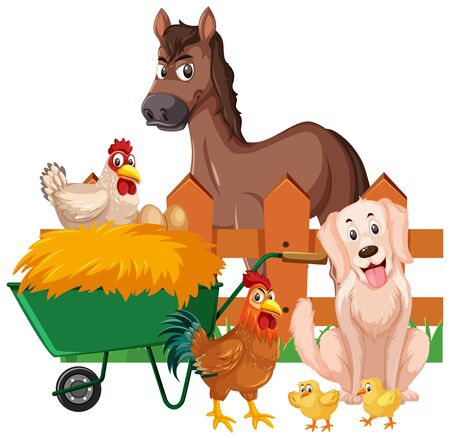 Farm animals and hay on white background illustration