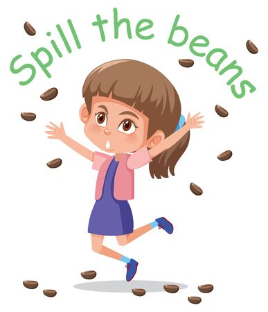 English idiom with picture description for spill the beans on white background illustration