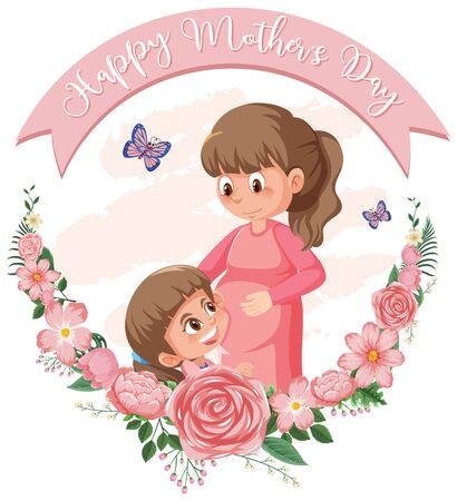 Template design for happy mother's day with mom and girl illustration Illustration