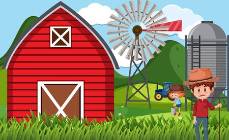 Farm scene with farmers working on the  farm illustration