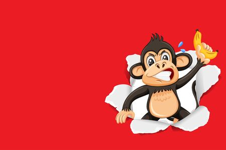 Background template design with wild monkey on red paper illustration Иллюстрация