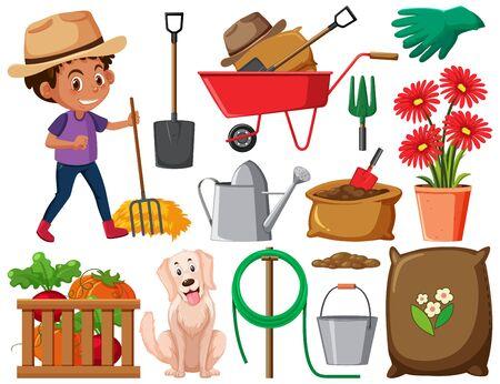 Set of gardening items on white background illustration