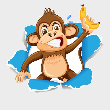 Background template design with wild monkey and banana illustration