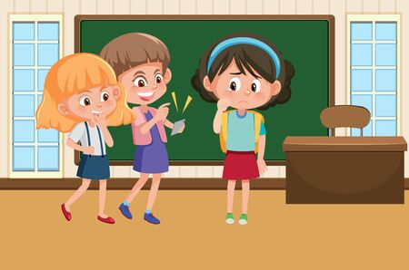 Scene with kid bullying their friend in classroom illustration Ilustração