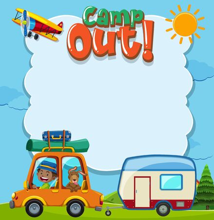 Background template with camping theme illustration