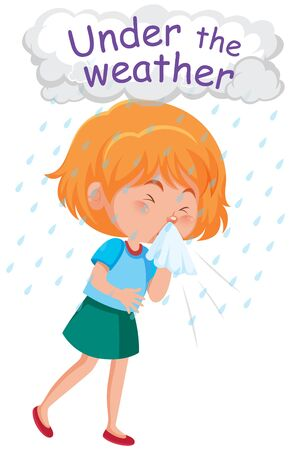 English idiom with picture description for under the weather on white background illustration