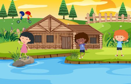 Scene with kids playing in the park illustration Ilustración de vector
