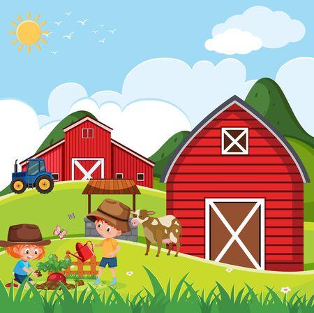 Farm scene with happy children planting vegetable on the farm illustration