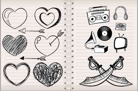A note with different symbol illustration Stok Fotoğraf - 147707239
