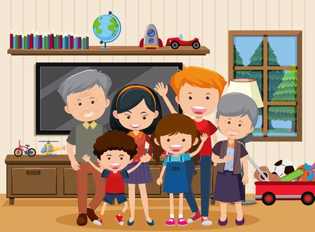 Happy family staying together at home illustration