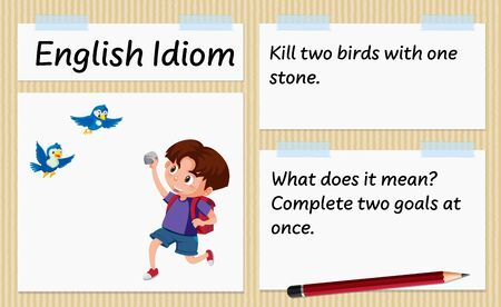 English idiom kill two birds with one stone template illustration