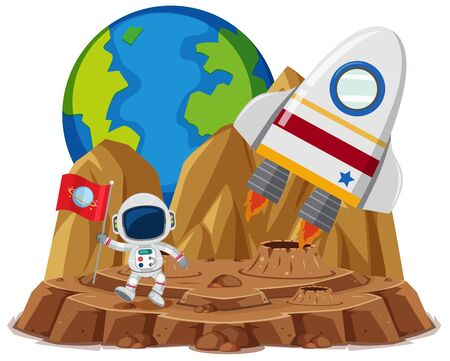Astronaut with flag in the planet cartoon style on white background illustration