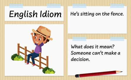 English idiom he's sitting on the fence template illustration