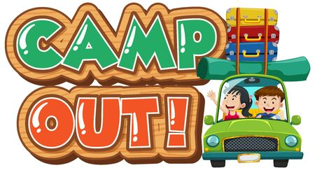 Font design for camp out with tent in the park illustration Illustration