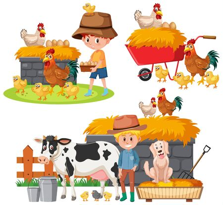 Set of farmers and farm animals on white background illustration