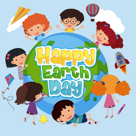 Poster design for happy earth day with happy kids on earth illustration