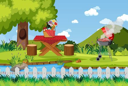 Scene with BBQ grill and food on picnic table illustration