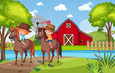 Background scene with kids riding horses in the park illustration