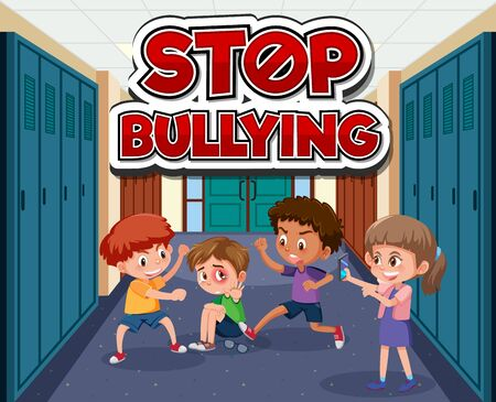Scene with kids bullying friend at school illustration
