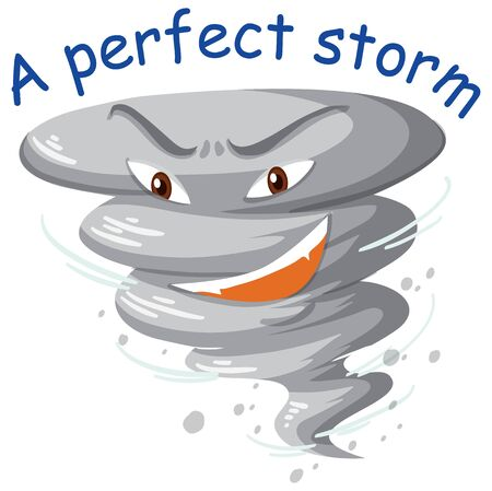 English idiom with picture description for a perfect storm on white background illustration