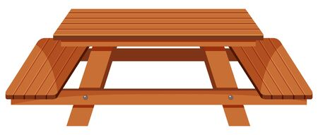Wooden picnic table on white background illustration