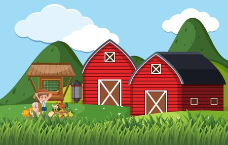 Farm scene with girl and chickens on the farm illustration