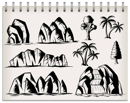 Paper of nature sketching illustration 向量圖像