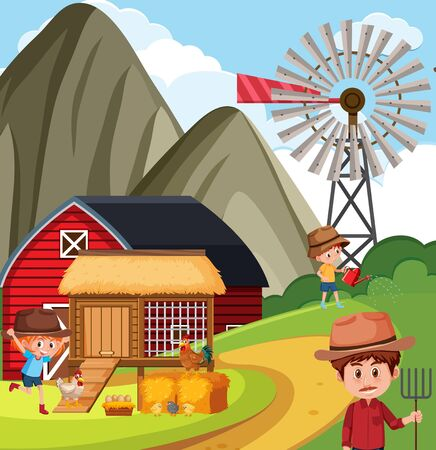 Farm scene with farmer and children working on the farm illustration