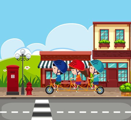 Background scene with kids riding bike on the sidewalk illustration