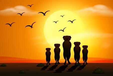 Silhouette scene with meerkats at sunset illustration Ilustración de vector