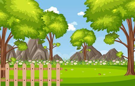 Scène de fond avec des arbres dans l'illustration du parc