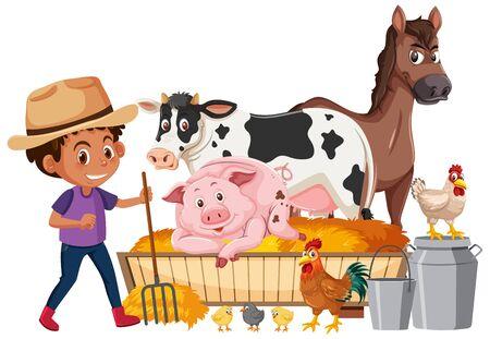 Farmboy and many animals on white background illustration