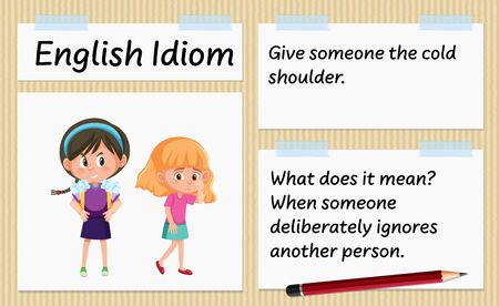 English idiom give someone the cold shoulder template illustration Stock fotó - 147784665
