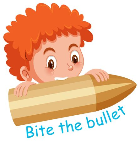 English idiom with picture description for bite on bullet on white background illustration
