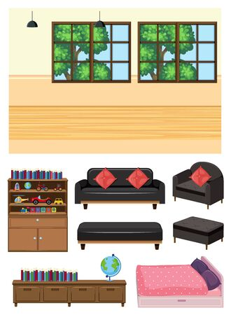 Background scene of empty room and set of furniture on white background illustration 向量圖像