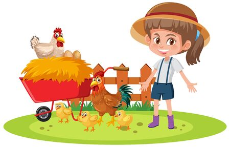 Scene with farmgirl and many chickens on white background illustration