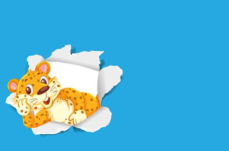 Background template design with wild tiger on blue paper illustration