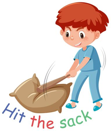 English idiom with picture description for hit the sack on white background illustration Ilustración de vector