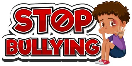 Stop domestic violence font design with sad boy illustration