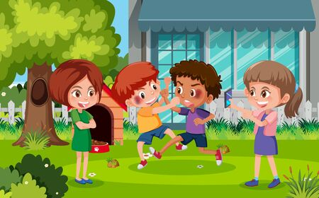 Scene with kid bullying their friend in the park illustration
