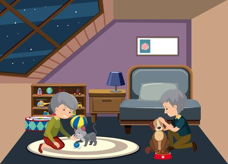 Background scene with old couple staying at home illustration Vettoriali