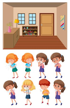 Background scene with clean classroom and set of sick children illustration